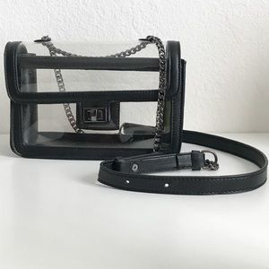 Faux Leather Transparent Crossbody Chain Bag